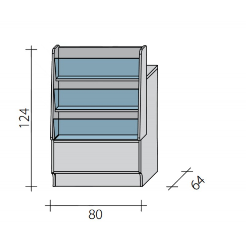 Lada pełna - gazeciarz o wymiarach 80x64x124 cm LGG-W-80/ALB