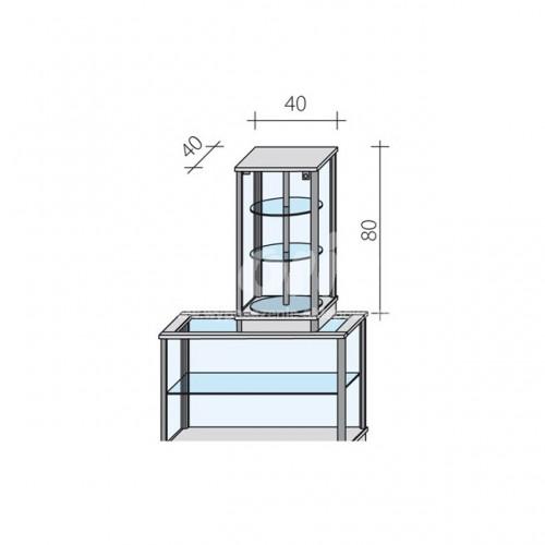 Gablota nadstawka obrotowa o wymiarach 40x40x80 cm VA10-OBR/ALB