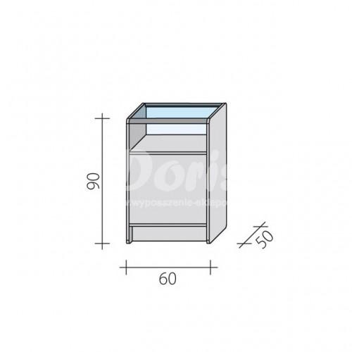 Lada sklepowa przeszklona o wymiarach 60x50x90 cm LPS 1/3-60/ALB