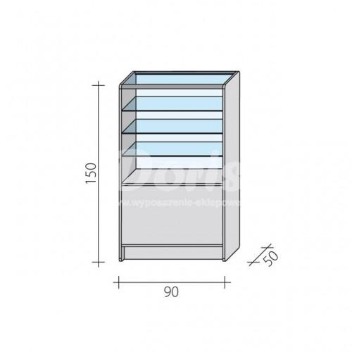 Lada witryna przeszklona w 1/3 o wymiarach 90x50x150 cm LW 1/3-90/ALB