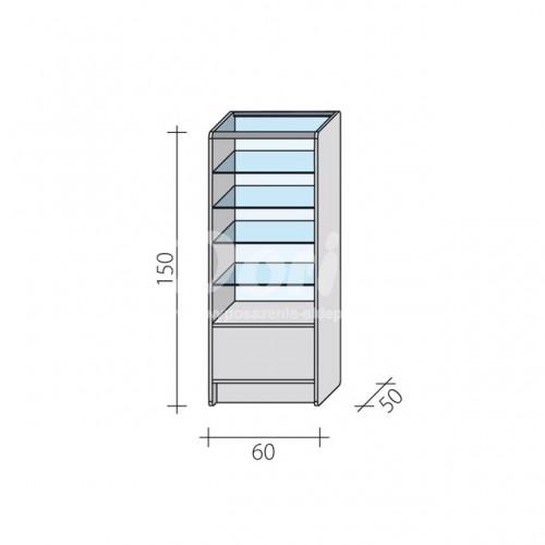 Lada witryna przeszklona w 2/3 o wymiarach 60x50x150 cm LW 2/3-60/ALB