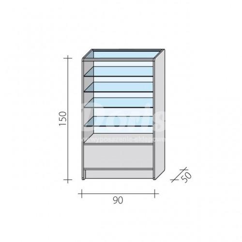 Lada witryna przeszklona w 2/3 o wymiarach 90x50x150 cm LW 2/3-90/ALB