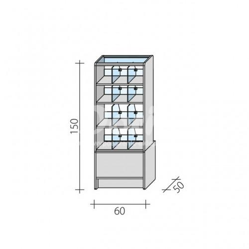 Lada witryna cukiernicza o wymiarach 60x50x150 cm LC 60/ALB