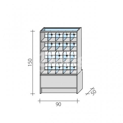 Lada witryna cukiernicza o wymiarach 90x50x150 cm LC 90/ALB