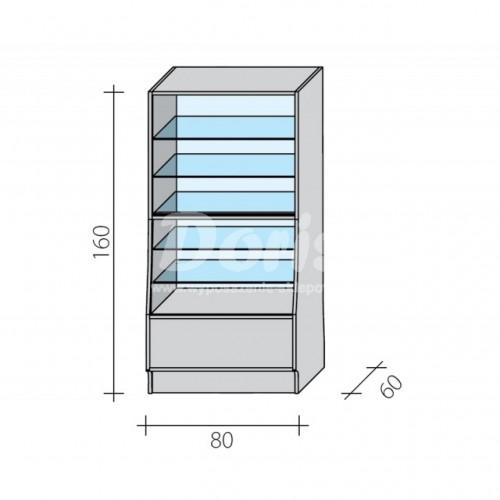 Lada witryna o wymiarach 80x60x160 cm LGW-100/ALB