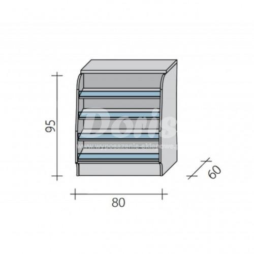 Lada sklepowa pełna z impulsem o wymiarach 80x60x95 cm LGI-N-80/ALB