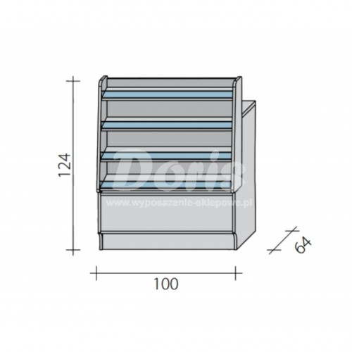 Lada sklepowa pełna z impulsem o wymiarach 100x64x124 cm LGI-W-100/ALB