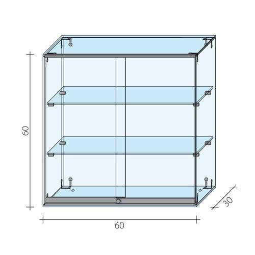 Gablota szklana z drzwiami o wymiarach 60x30x60 cm AL 12/M-D/ALB