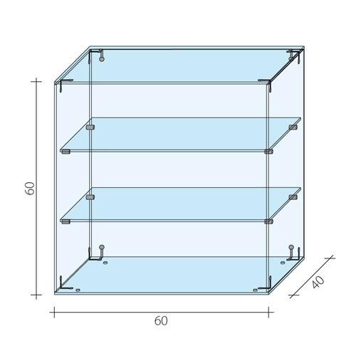 Gablota szklana z drzwiami AL 13/M/ALB