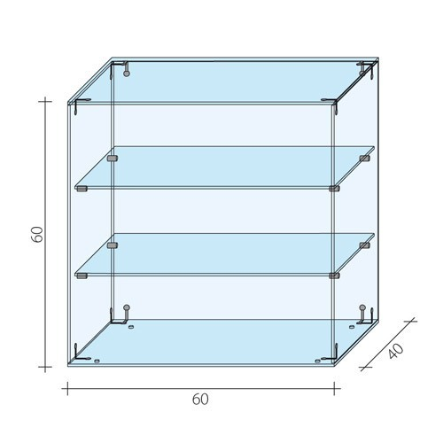 Gablota szklana o wymiarach 60x40x60 cm AL 13/M/ALB