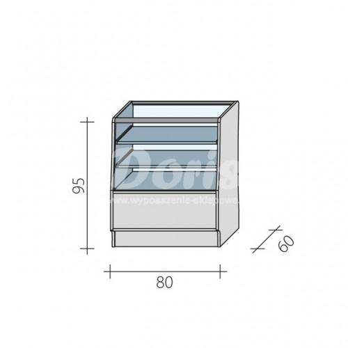Lada sklepowa przeszklona w 2/3 o wymiarach 80x60x95 cm LGBS-80/ALB