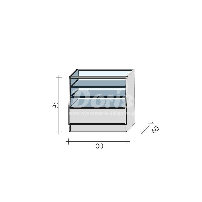 Lada sklepowa przeszklona w 2/3 o wymiarach 100x60x95 cm LGBS-100/ALB