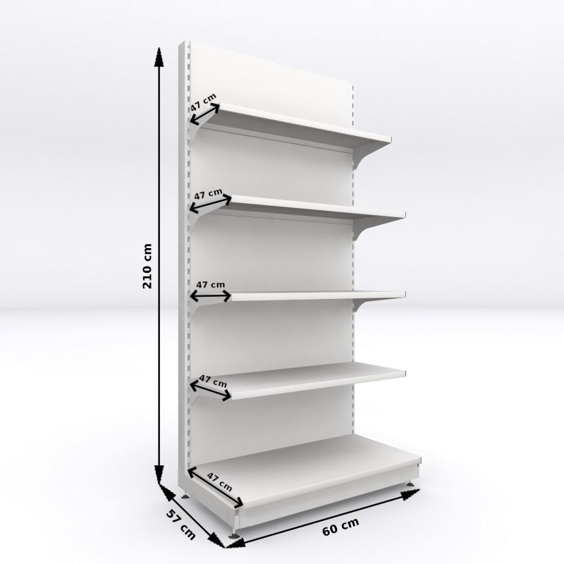 Regał metalowy sklepowy przyścienny Mago 210x60