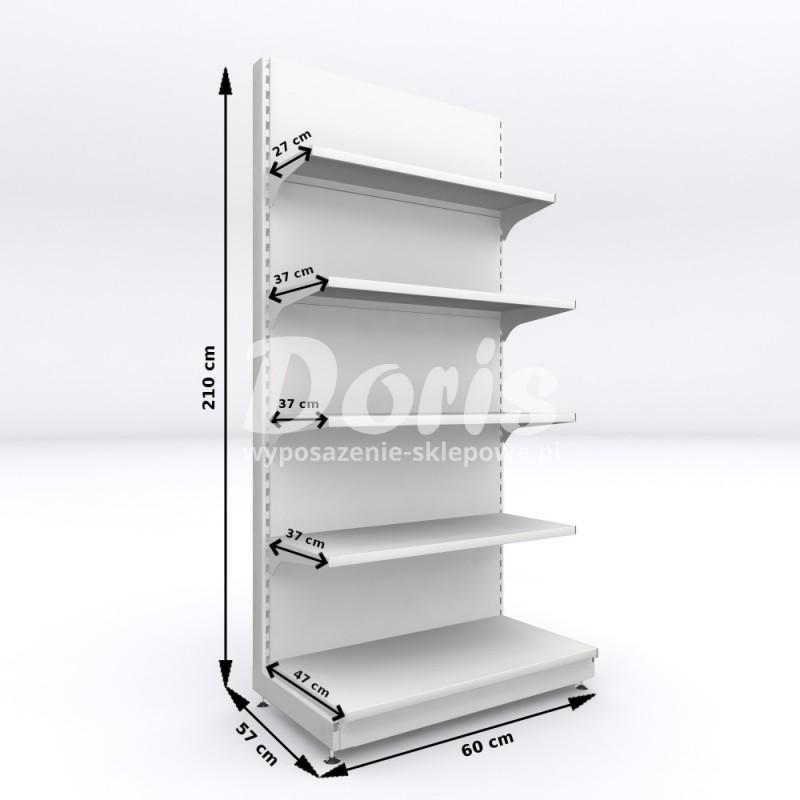 Regał metalowy sklepowy przyścienny Mago o wysokości 210 cm i szrokości 60 cm, 5 półkowy
