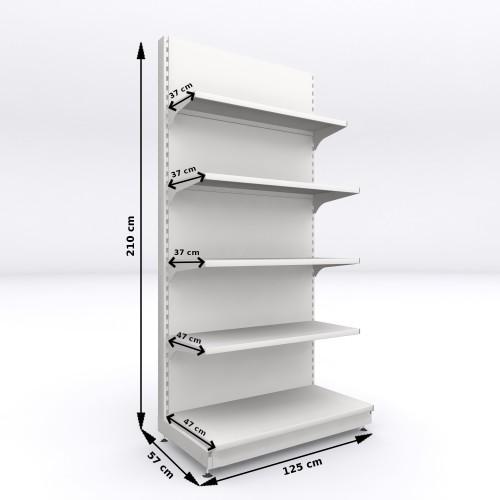 Regał metalowy sklepowy przyścienny Mago 210x125