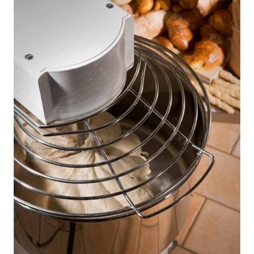 Miesiarka spiralna do ciasta z podnoszonym hakiem i wyjmowaną dzieżą o pojemności 50 litrów oraz zasilana napięciem 230V