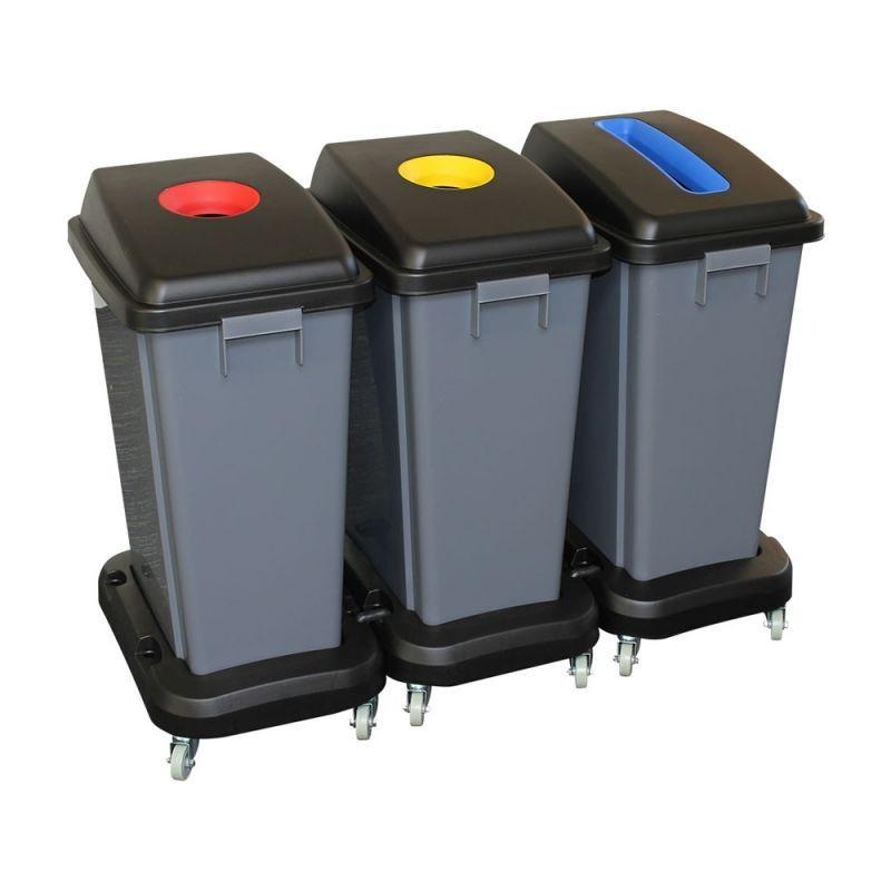 Zestaw trzech koszy do segregacji odpadów o pojemności 60 litrów na kółkach KJS706/MER