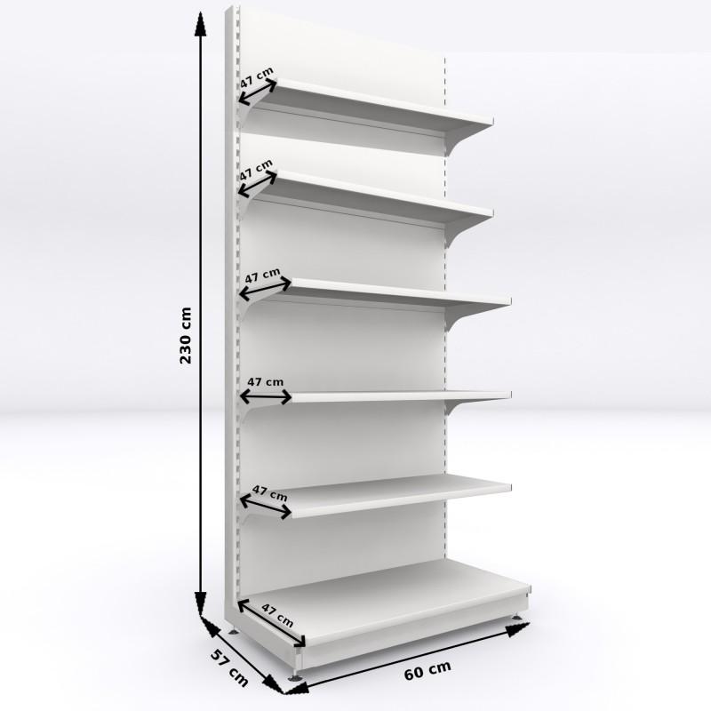 Regał metalowy sklepowy przyścienny Mago 230x60