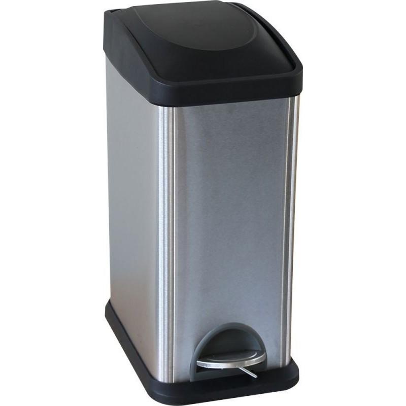 Kosz pedałowy do segregacji wykonany ze stali matowej o pojemności 15 litrów KIM701/MER