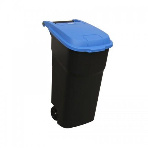 Duży pojemnik na odpady z pokrywą w kolorze niebieskim o pojemności 100 litrów KJC302