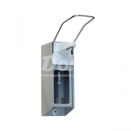 Dozownik aluminiowy z przyciskiem łokciowym na jednorazowe wkłady o pojemności  500 ml