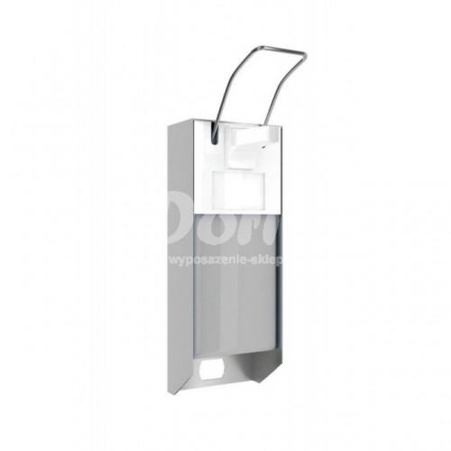 Metalowy dozownik płynów dezynfekcyjnych ze zbiornikiem o pojemności 500 ml i przyciskiem łokciowym