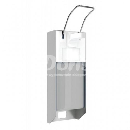 Metalowy dozownik płynów dezynfekcyjnych ze zbiornikiem o pojemności 1000 ml i przyciskiem łokciowym