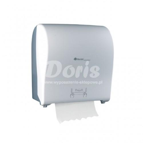 Mechaniczny podajnik ręczników papierowych w rolach posiadający front w kolorze biały - mat