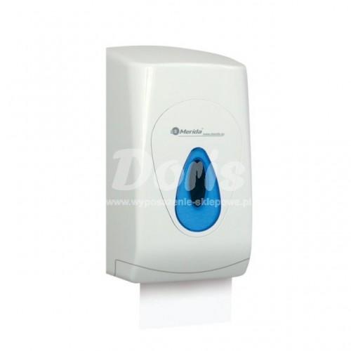Pojemnik na papier toaletowy w listkach z tworzywa ABS posiadający niebieskie okienko BTN401/MER