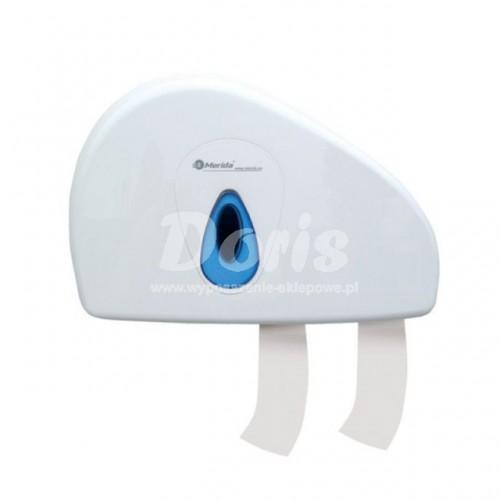 Pojemnik na papier toaletowy z uchwytem na resztkę rolki z niebieskim okienkiem