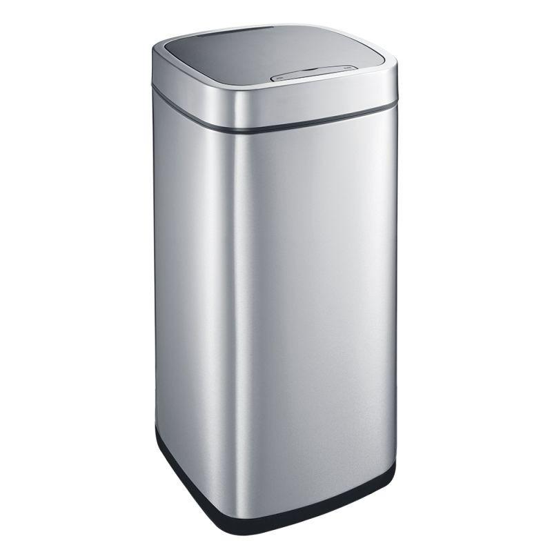 Kosz kwadratowy automatyczny wykonany ze stali matowej o pojemności 35 litrów KIM504/MER