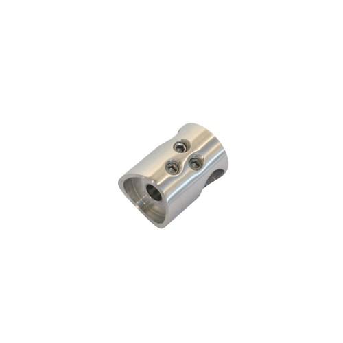 Uchwyt przelotowy łącznik  ze stali nierdzewnej do rury fi 12 i fi 42.4 mm PR708-0