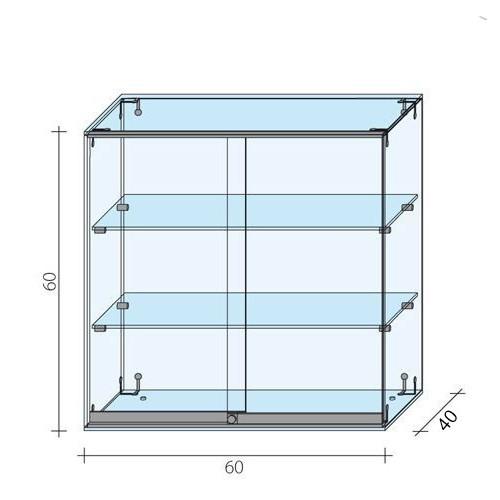 Gablota szklana z drzwiami o wymiarach 60x40x60 cm AL 13/M-D/ALB