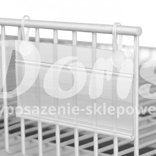 Listwy cenowe zawieszane z haczykami do półek z drutu L-11 cm, h-39 kpl. 50 szt. LC DBH 39/110