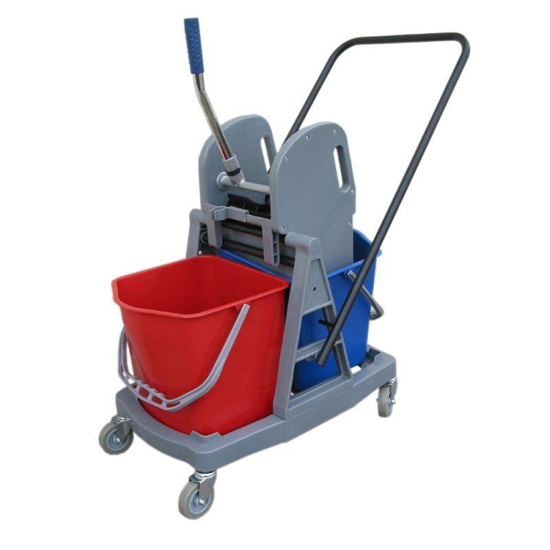 Wózek do sprzątania z prasą do mopów i dwoma wiadrami o łącznej pojemności 34 litrów HFW102/MER