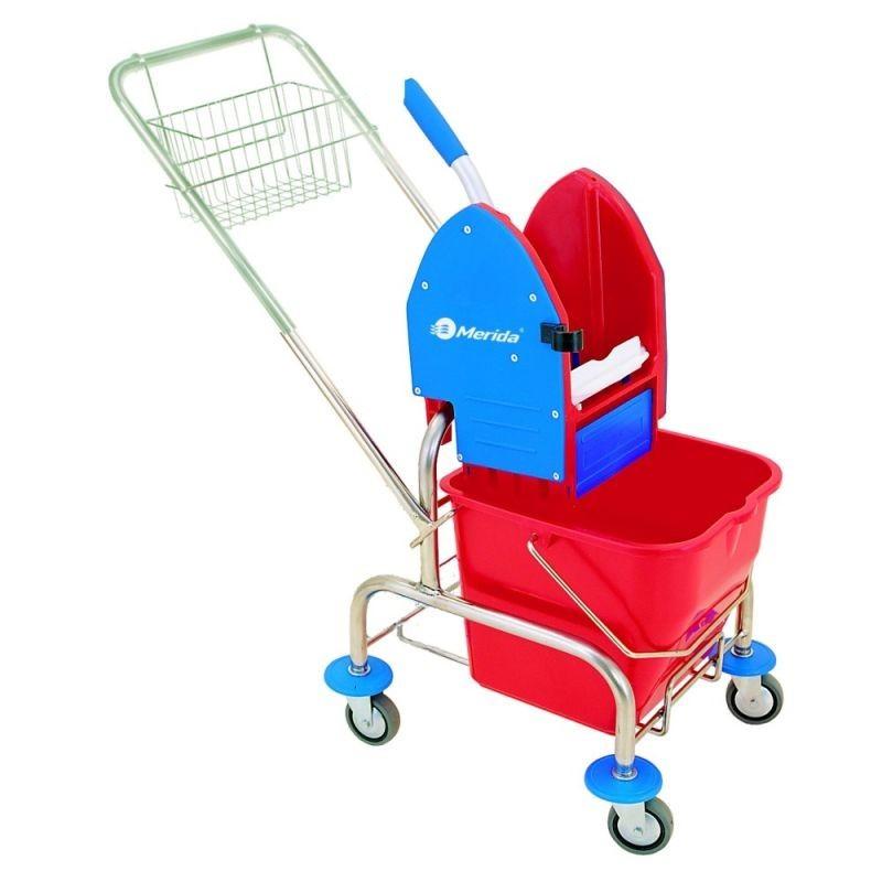 Wózek do sprzątania z prasą do mopów, koszykiem metalowym i wiadrem o pojemności 20 litrów MO2/MER