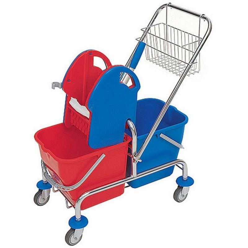Wózek do sprzątania z prasą do mopów, koszykiem i wiadrami o pojemności 40 litrów MO3/MER