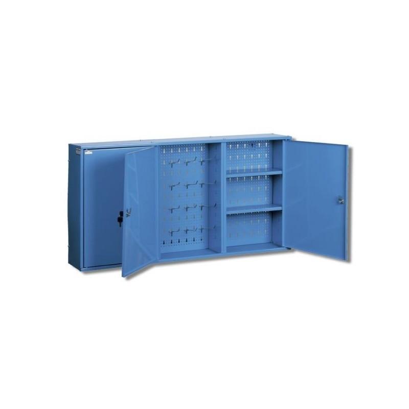 Szafka wisząca warsztatowa trzyczęściowa z półkami i ścianą perforowną z haczykami na narzędzia o długości 2 m TG-SZW 2