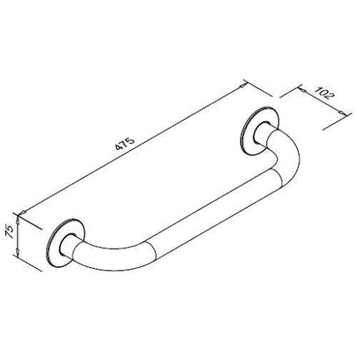 Poręcz prosta dla niepełnosprawnych 400 mm SW B