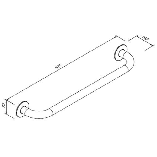 Poręcz prosta dla niepełnosprawnych 600 mm SW B