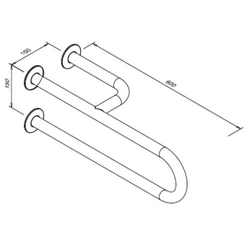 Poręcz stała dla niepełnosprawnych 3-podporowa prawa 600 mm SW B