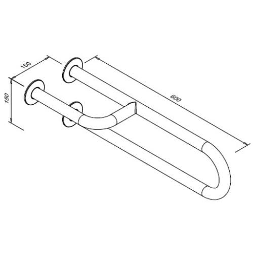 Poręcz stała dla niepełnosprawnych 3-podporowa lewa 600 mm SW B