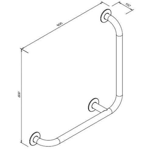 Poręcz kątowa dla niepełnosprawnych 90° SW B