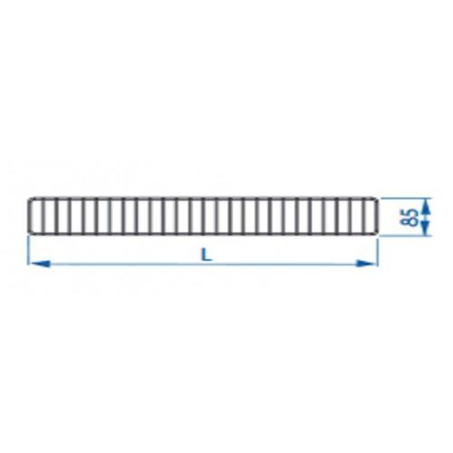 Ogranicznik przedni do regałów Mago o długości 100 cm i wysokości 85 mm