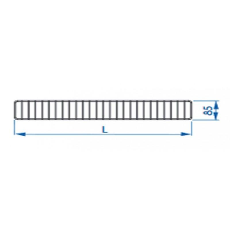 Ogranicznik przedni do regałów Mago o długości 125 cm i wysokości 85 mm