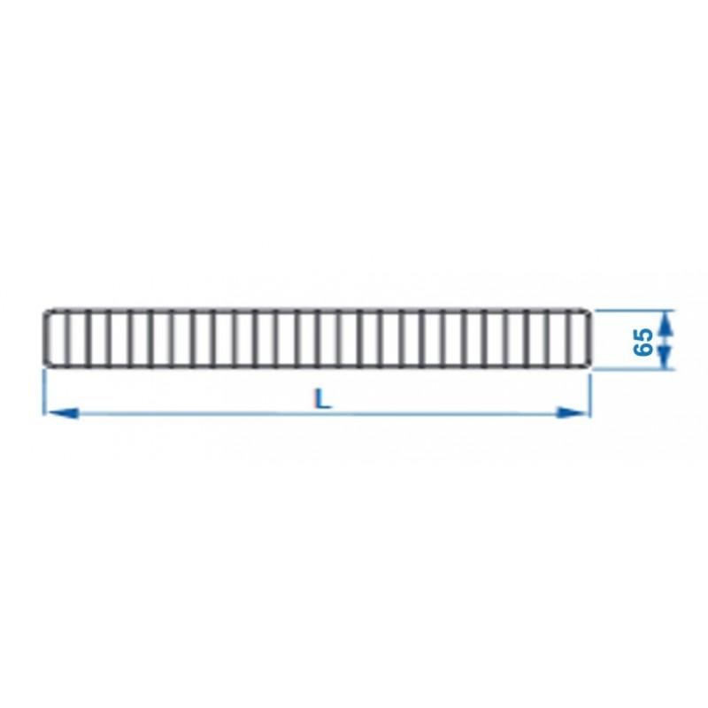 Ogranicznik przedni do regałów Mago o długości 125 cm i wysokości 65 mm