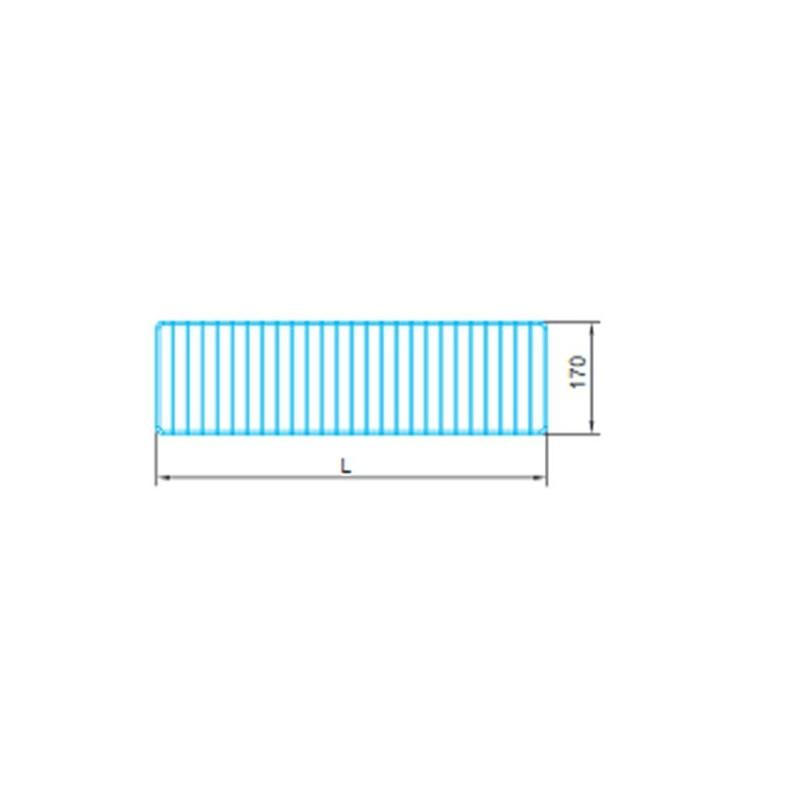 Ogranicznik przedni do regałów zewnętrznych Mago o głębokości półki 27 cm