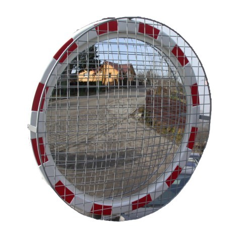 Lustro drogowe akrylowe z siatką zabezpieczającą o średnicy 80 cm