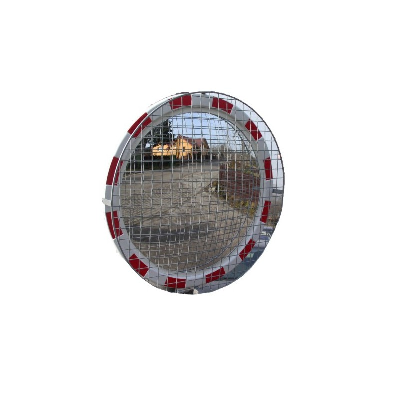 Lustro drogowe akrylowe z siatką zabezpieczającą o średnicy 90 cm