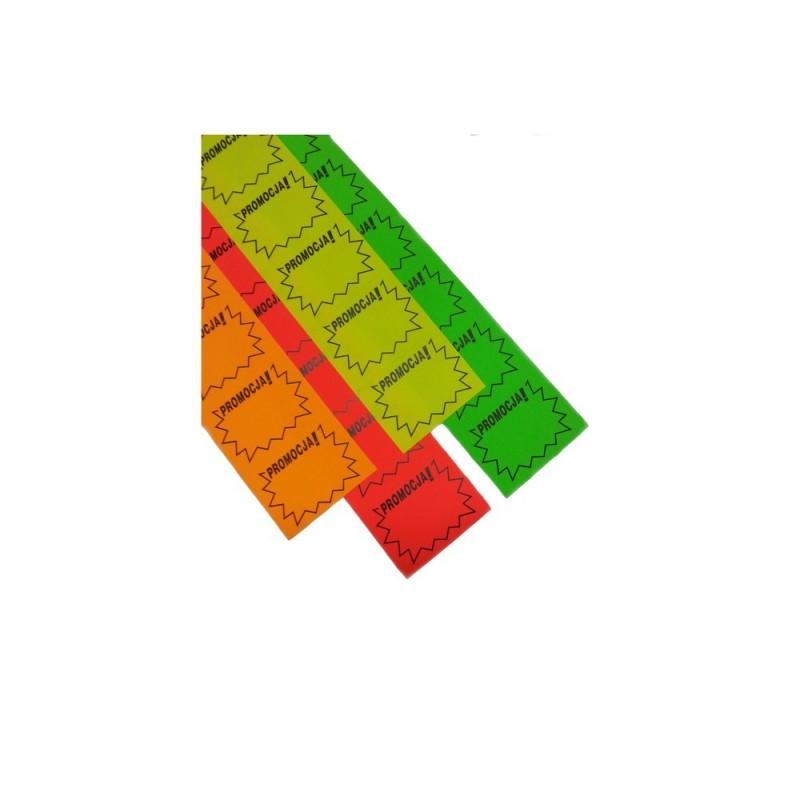 Ceny samoprzylepne na pasku z napisem promocja RC0009/RC0012/RC0011/RC0010